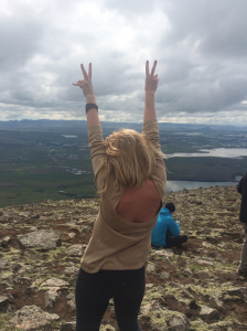 On top of mountain Esja