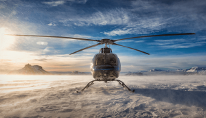 Frontview of a helicopter on a glacier
