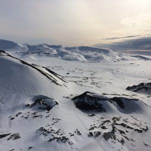 Icelandic lava landscape in winter