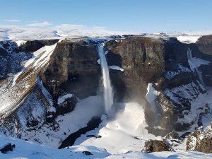 Haifoss waterfall in winter
